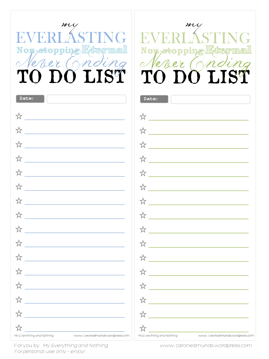 picture regarding Printable Notepad named Free of charge printable In the direction of do lists My anything nothing at all
