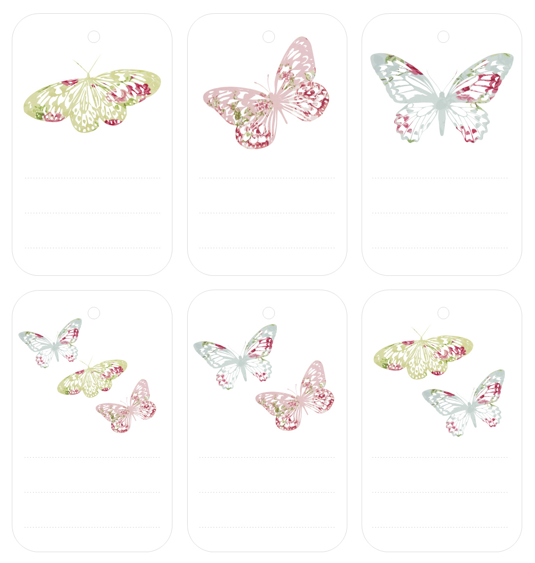 Gift tags templates militaryalicious free printable butterfly tags negle Image collections